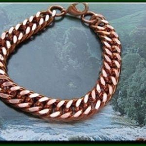 "Men's Solid Copper Bracelet CB638G - 7/16"" wide"